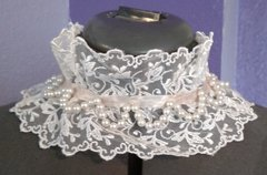 Lace and Pearl Ruffle Collar