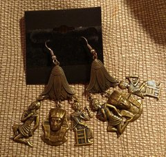 Egyptian Theme Earrings in Antique Gold