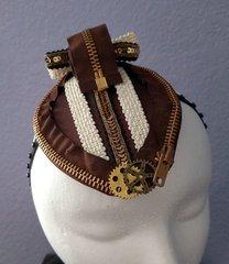 Brown Steampunk Zipper Fascinator Hat