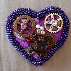 Purple Cog Heart Brooch