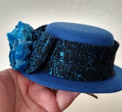 Blue Mini Top Hat Facinator