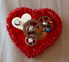 Red Cog Heart Pin