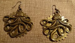 Octopus Gear Steampunk Earrings