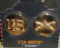 US Army Armored Cav, STA-BRITE collar disc set new old stock