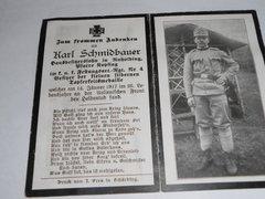 WW1 Death announcement for Karl Schimdbauer