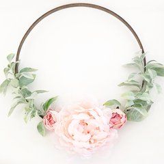 Blush peonies with dusty greenery hoop wreath