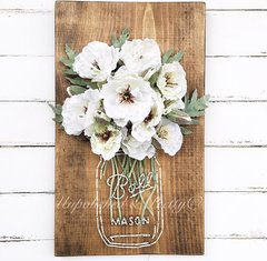 White anemone Mason Jar String Art©