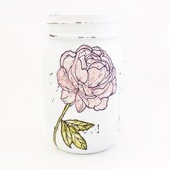 Watercolor Peony Mason Jar©