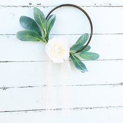 """Cream/pink peonies with lambs ear, lace and tulle hoop wreath - 6"""""""