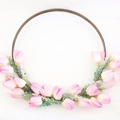 Pink tulip hoop wreath