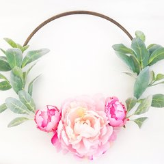 Peonies and lambs ear hoop wreath