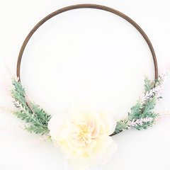 Peony and dusty pink greenery hoop wreath