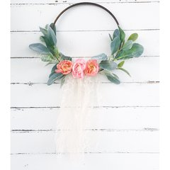 Coral/pink peonies with lambs ear, lace and tulle hoop wreath - 8""