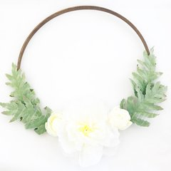 White Peony and dusty miller hoop wreath