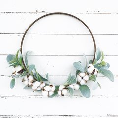 Cotton and lambs ear hoop wreath - 12""