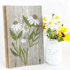 *watercolor floral On Reclaimed Barn Wood
