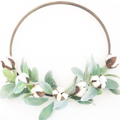 Cotton and lambs ear hoop wreath