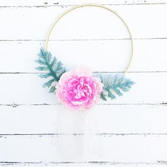 Pink peony and dusty miller gold hoop wreath with lace and tulle - 8""