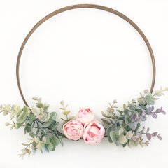 Eucalyptus and peony hoop wreath