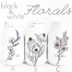 Black & White Floral Jars©