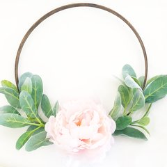 Blush peony and lambs ear hoop wreath