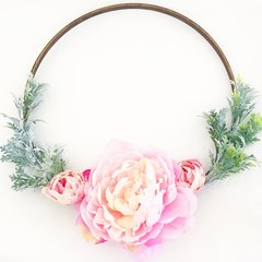 Peonies and dusty miller hoop wreath