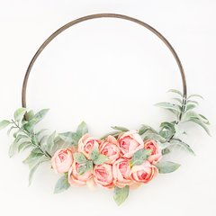 Small pink peonies with dusty greenery hoop wreath