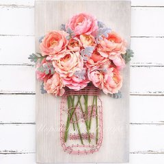 Coral and pink peony Mason Jar String Art©