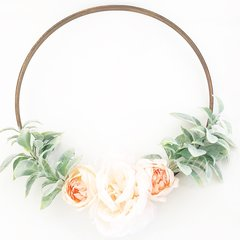 Blush/peach peonies with dusty greenery hoop wreath