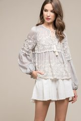 Moon River Embroidered L/S Top