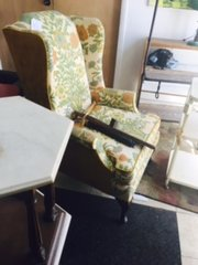 beautifully upholstered wingback chair
