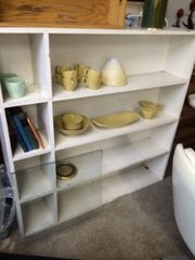 Shabby chic cubbied white bookshelf