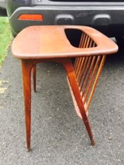 studding mid-century modern teak side table magazine rack