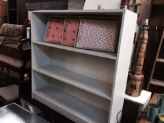 painted vintage bookshelf very pale cream tinted green