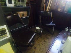 set of two mid-century chrome base mod chairs