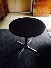 peferect little mid-century black leather top cafe table