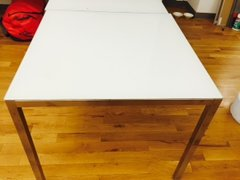 mod solid square table chrome legs glass top four available