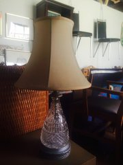 crystal and pewter table lamp