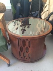 set of two round sold end tables