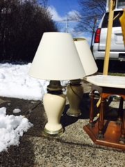 vintage pewter and ceramic table lamp (one left)