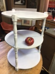 round white painted end table