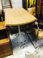 amazing antique white iron base drop-leaf table