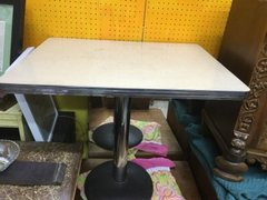 pristeen 1950s formica top, steel base pedestal table