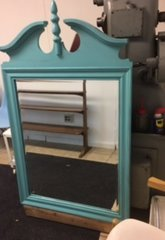 huge 1950s blue antique mirror
