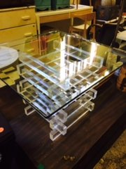 Vintage lucite and glass table - stunning, truly
