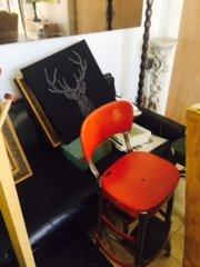 vintage red kitchen stool