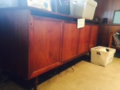 beautiful mid-century modern teak sideboard - back is worked for entertainment center or storage