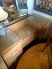 "mid-century ""heywood wakefield"" ish vanity table with mirror"