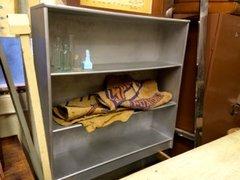 silver wood bookshelf