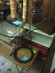 awesome glass clover top vintage table